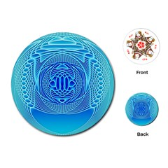 Swirling Dreams, Aqua Playing Cards (round)