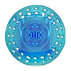 Swirling Dreams, Aqua Round Filigree Ornament (2side)