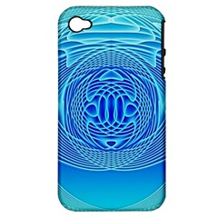 Swirling Dreams, Aqua Apple iPhone 4/4S Hardshell Case (PC+Silicone)
