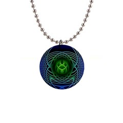 Swirling Dreams, Blue Green Button Necklaces