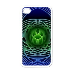 Swirling Dreams, Blue Green Apple iPhone 4 Case (White)