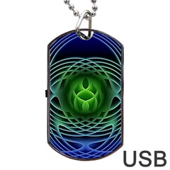 Swirling Dreams, Blue Green Dog Tag USB Flash (Two Sides)