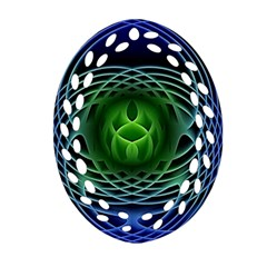 Swirling Dreams, Blue Green Oval Filigree Ornament (2 Side)
