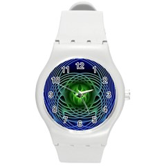 Swirling Dreams, Blue Green Round Plastic Sport Watch (M)