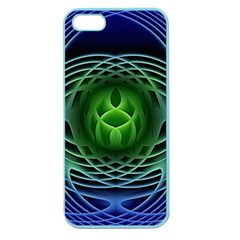 Swirling Dreams, Blue Green Apple Seamless iPhone 5 Case (Color)