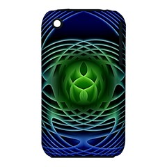 Swirling Dreams, Blue Green Apple iPhone 3G/3GS Hardshell Case (PC+Silicone)