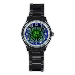 Swirling Dreams, Blue Green Stainless Steel Round Watches