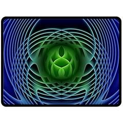 Swirling Dreams, Blue Green Double Sided Fleece Blanket (Large)
