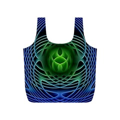 Swirling Dreams, Blue Green Full Print Recycle Bags (S)