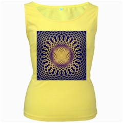 Swirling Dreams, Blue Women s Yellow Tank Tops