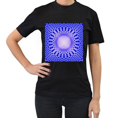 Swirling Dreams, Blue Women s T-Shirt (Black) (Two Sided)