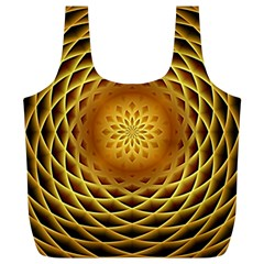 Swirling Dreams, Golden Full Print Recycle Bags (L)
