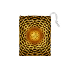 Swirling Dreams, Golden Drawstring Pouches (Small)