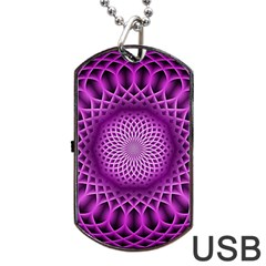Swirling Dreams, Hot Pink Dog Tag USB Flash (One Side)