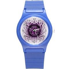 Swirling Dreams, Purple Round Plastic Sport Watch (S)