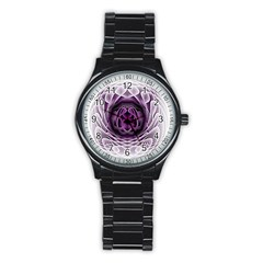 Swirling Dreams, Purple Stainless Steel Round Watches
