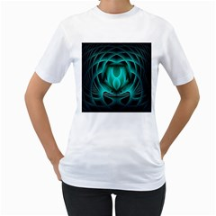 Swirling Dreams, Teal Women s T-Shirt (White) (Two Sided)