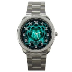 Swirling Dreams, Teal Sport Metal Watches