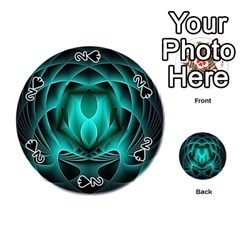 Swirling Dreams, Teal Playing Cards 54 (Round)