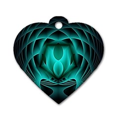 Swirling Dreams, Teal Dog Tag Heart (Two Sides)