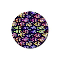 Colorful Fishes Pattern Design Rubber Coaster (Round)