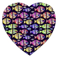 Colorful Fishes Pattern Design Jigsaw Puzzle (Heart)