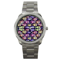 Colorful Fishes Pattern Design Sport Metal Watches