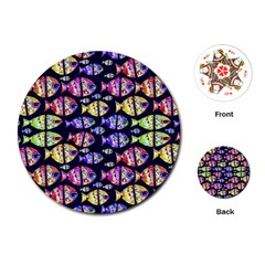 Colorful Fishes Pattern Design Playing Cards (Round)