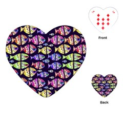 Colorful Fishes Pattern Design Playing Cards (heart)