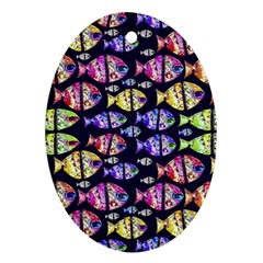 Colorful Fishes Pattern Design Oval Ornament (two Sides)