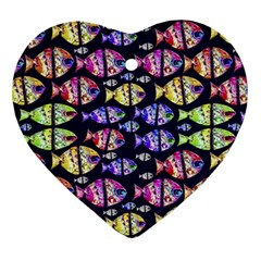 Colorful Fishes Pattern Design Heart Ornament (2 Sides)