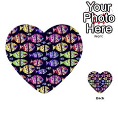 Colorful Fishes Pattern Design Multi-purpose Cards (Heart)