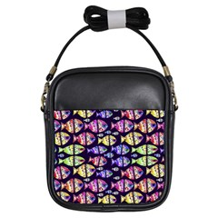 Colorful Fishes Pattern Design Girls Sling Bags
