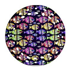 Colorful Fishes Pattern Design Round Filigree Ornament (2side)