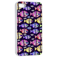 Colorful Fishes Pattern Design Apple iPhone 4/4s Seamless Case (White)