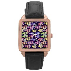 Colorful Fishes Pattern Design Rose Gold Watches