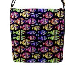 Colorful Fishes Pattern Design Flap Messenger Bag (L)