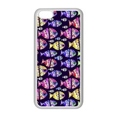 Colorful Fishes Pattern Design Apple iPhone 5C Seamless Case (White)