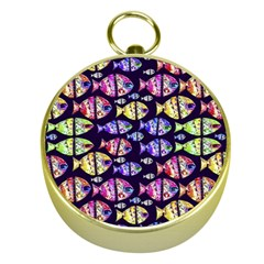 Colorful Fishes Pattern Design Gold Compasses