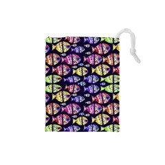 Colorful Fishes Pattern Design Drawstring Pouches (Small)