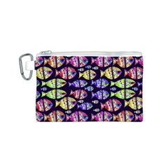 Colorful Fishes Pattern Design Canvas Cosmetic Bag (S)