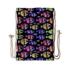 Colorful Fishes Pattern Design Drawstring Bag (Small)