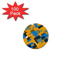 Blue yellow shapes 1  Mini Button (100 pack)