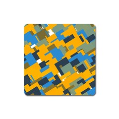 Blue yellow shapes Magnet (Square)