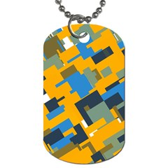 Blue yellow shapes Dog Tag (One Side)