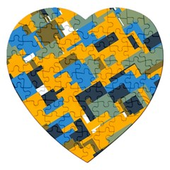 Blue yellow shapes Jigsaw Puzzle (Heart)
