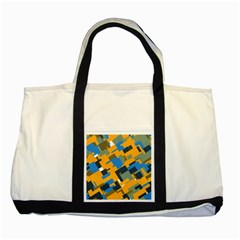 Blue yellow shapes Two Tone Tote Bag
