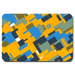 Blue yellow shapes Large Doormat