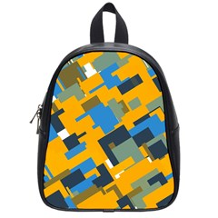Blue yellow shapes School Bag (Small)