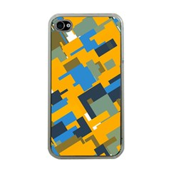 Blue yellow shapes Apple iPhone 4 Case (Clear)